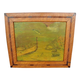 Vintage Folk Art Oil Painting in Mission Frame