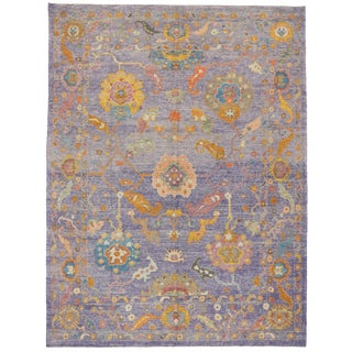 Contemporary Turkish Modern Style Lavender Oushak Rug - 9′5″ × 12′4″