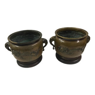 Meiji Period Bronze Japanese Planters - A Pair