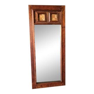 Vintage Wood and Cork Brutalist Mirror