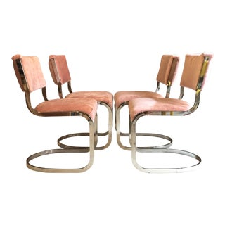 Milo Baughman Style Chrome Cantilever Dining Chairs - Set of 4