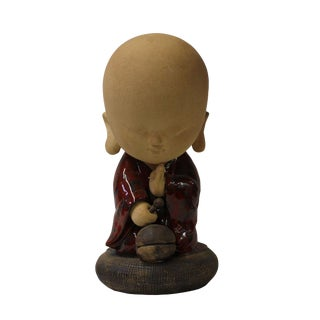 Chinese Oriental Ceramic Cartoon Style Kid Lohon Monk Figure