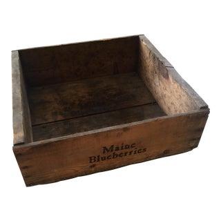 Antique Maine Blueberries Wooden Box