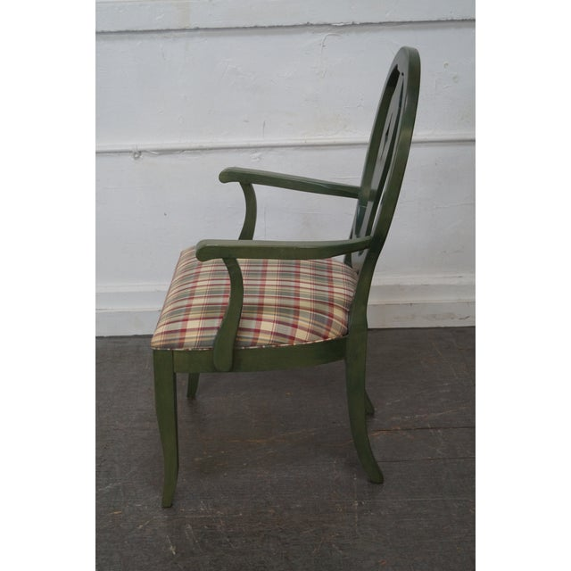 Image of Ethan Allen Country Green Painted Arm Chair