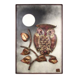 "Vintage Hammered Metal Wall Art ""Owl"" by Alex Kovacs"