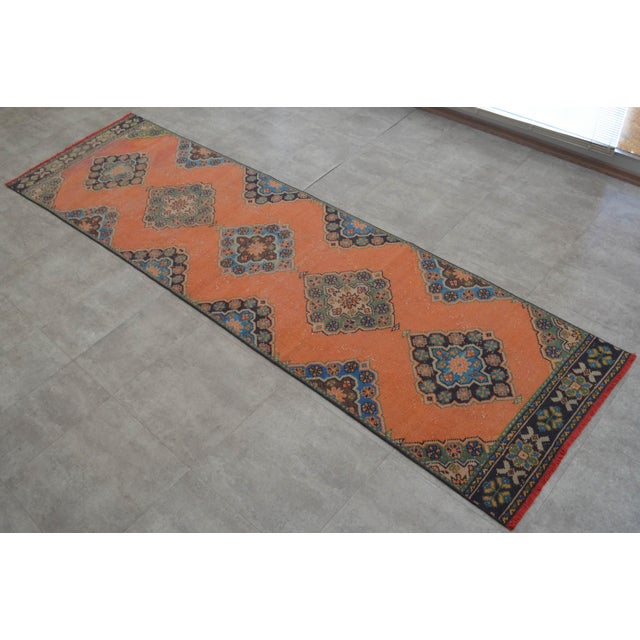 "Distressed Oushak Rug Runner Salmon Hallway Decor - 3' x 10'9"" - Image 10 of 10"