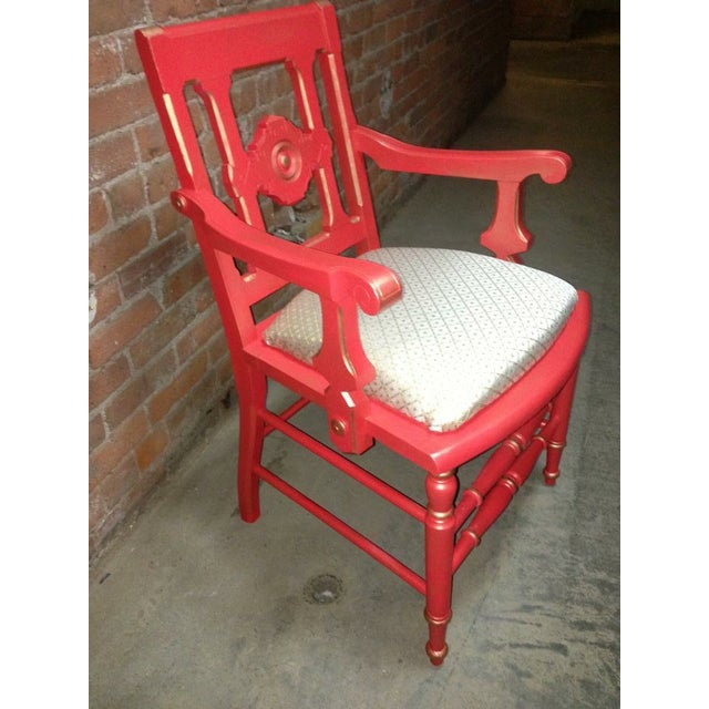 Victorian Eastlake Accent Chair Coral - Image 4 of 7