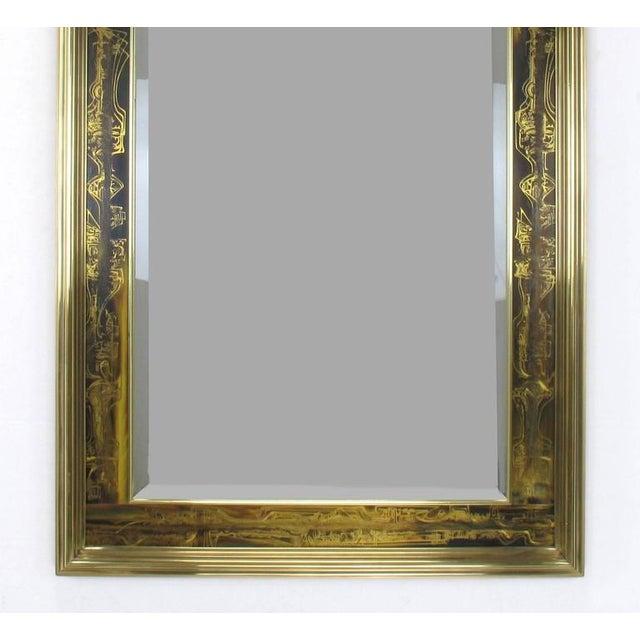 Pair of Mastercraft Bernhard Rohne Acid-Etched Frame Beveled Mirrors - Image 5 of 8