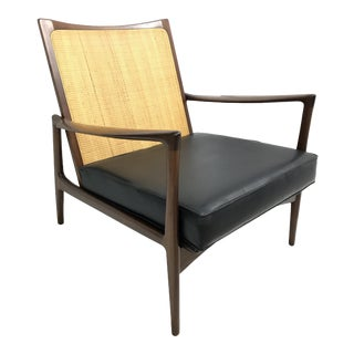 1960s Vintage Ib Kofod Larsen Mid Century Danish Cane Back Lounge Chair for Selig #632-15