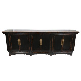 Beijing Style Black Lacquer Distressed Sideboard