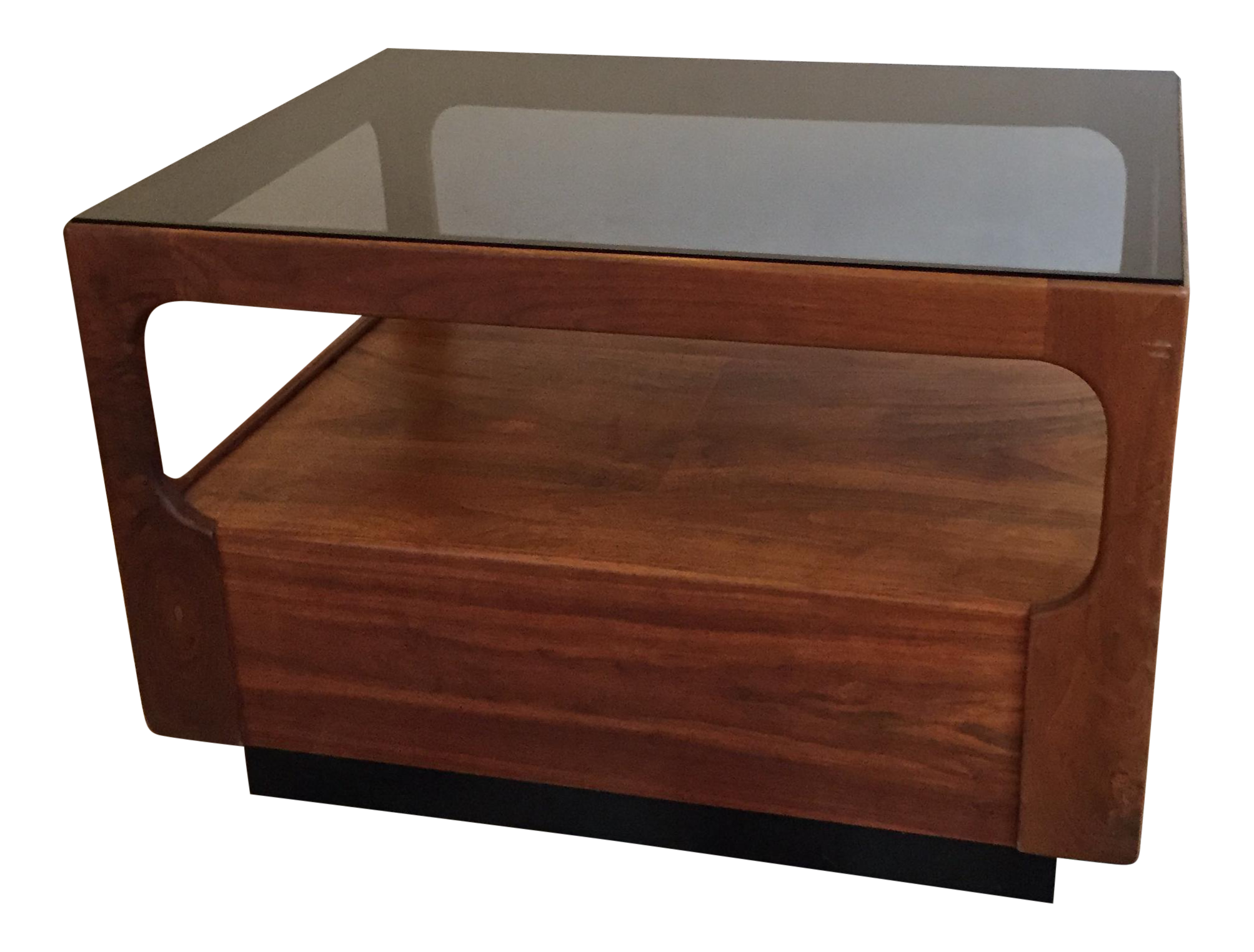 Walnut And Glass Side Table By John Keal For Brown Saltman Furniture