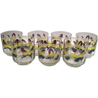 Retro Butterfly Juice Glasses - Set of 7