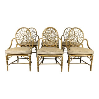Vintage McGuire Rattan Cracked Ice Dining Chairs - Set of 6