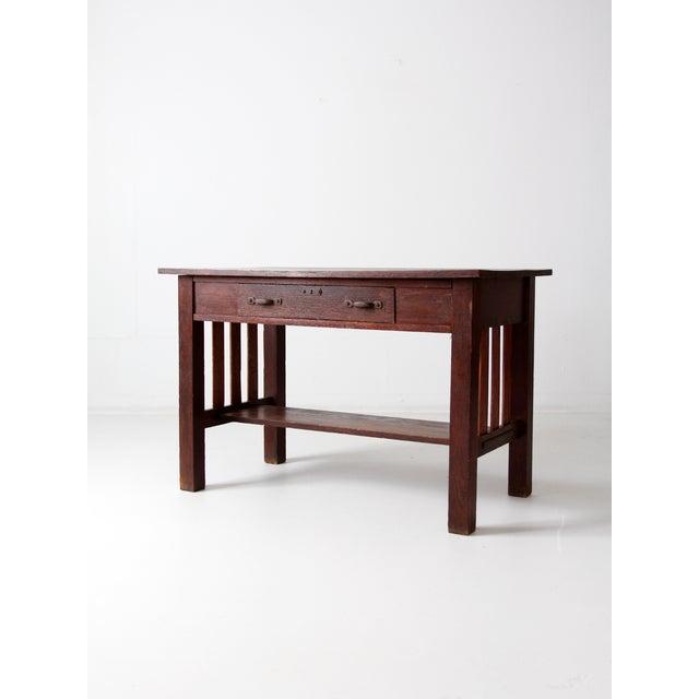 Antique Mission Style Desk - Image 2 of 8