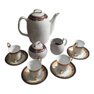 Vintage Cobalt Gilded Gold Wakbrzych Polish Coffee Set