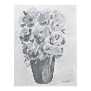 Gray Floral Abstract Painting by Cleo