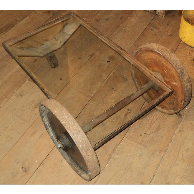 Antique Industrial Metal Glass Table on Wheels - Image 6 of 8