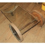 Image of Antique Industrial Metal Glass Table on Wheels