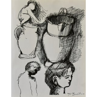 """""""Sketches of Boys and Water Pitcher"""" Drawing Study"""