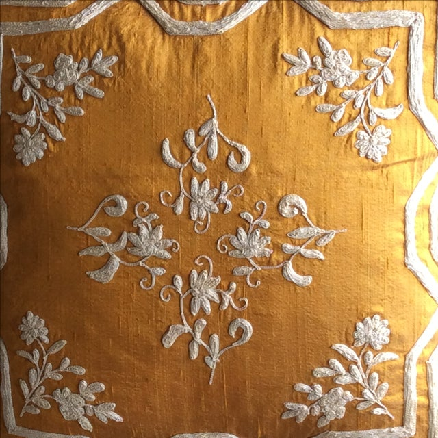 Copper Silk Embroidered Accent Pillow Cover - Image 3 of 5