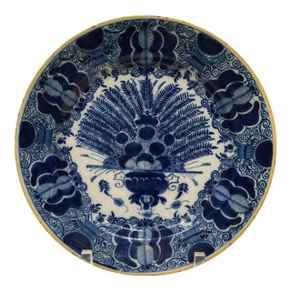 Antique Delft Peacock Plate Circa 1750 Blue & White