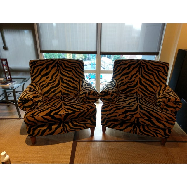 Tiger Print Chairs - Pair - Image 2 of 8