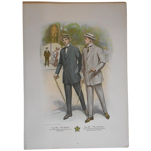 """Image of Antique """"Well Dressed Men"""" Lithograph"""