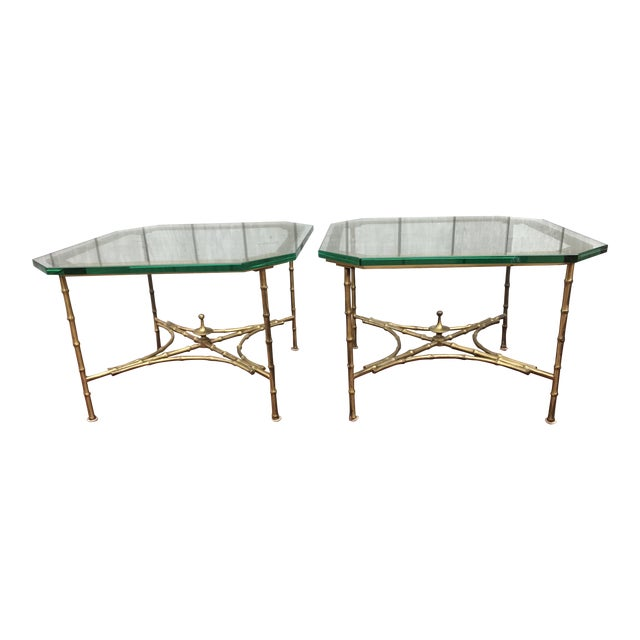 Hollywood Regency Faux Bamboo Side Tables - A Pair - Image 1 of 8