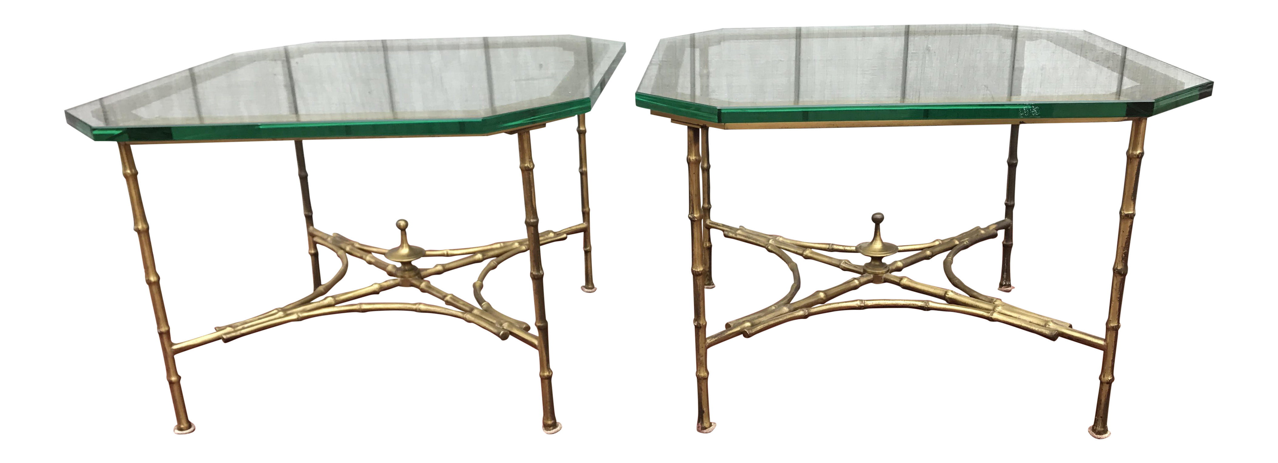 Hollywood Regency Faux Bamboo Side Tables   A Pair