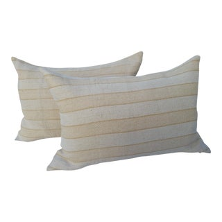 Ochre Grain Sack Pillows - A Pair