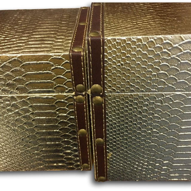 Gold Faux-Snakeskin Nesting Boxes - A Pair - Image 6 of 6