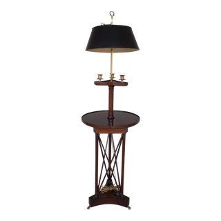 Vintage Mahogany Regency Style Toleware Bouillotte Floor Lamp Table