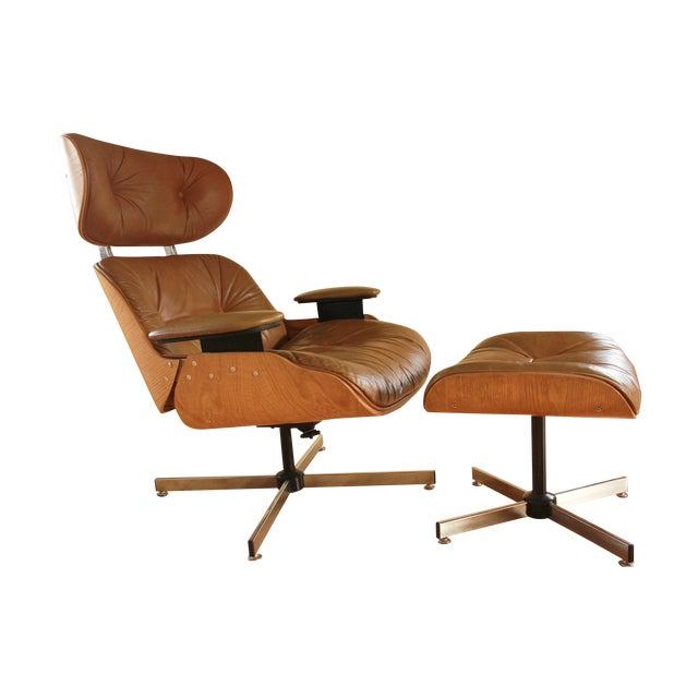 Eames style selig chair ottoman 1975 chairish - Selig eames chair ...