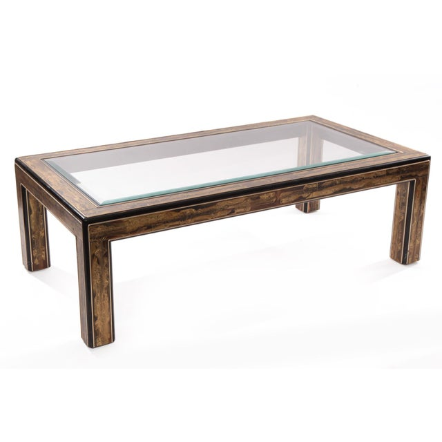 Image of Bernard Rohne for Mastercraft Etched Brass Cocktail Table
