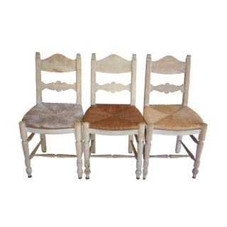 Rush Chairs Mix & Match Seats With Bleached Wood Frames - Set of 3