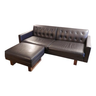 Room and Board Wells Leather Sofa & Ottoman - A Pair