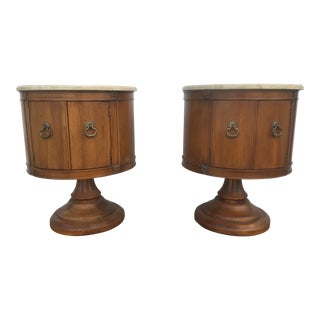 Vintage Regency Style Marble Top Tables - A Pair