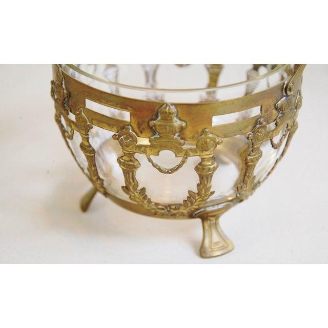 Image of Antique Brass Filigree & Crystal Basket