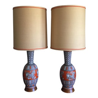 Pair of Mid-Century Modern Italian Pottery Raymor Lamps by Fratelli Fanciullacci