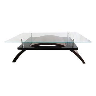 Macassar Ebony Contemporary Glass Cocktail Table