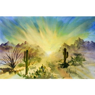 Desert Sunrise Watercolor Painting