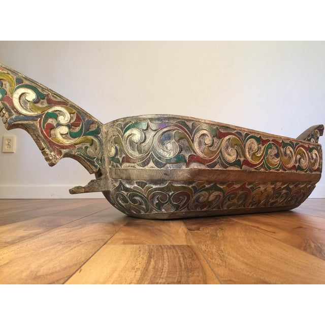 Filipino Carved & Painted Very Large Food Bowl - Image 4 of 8