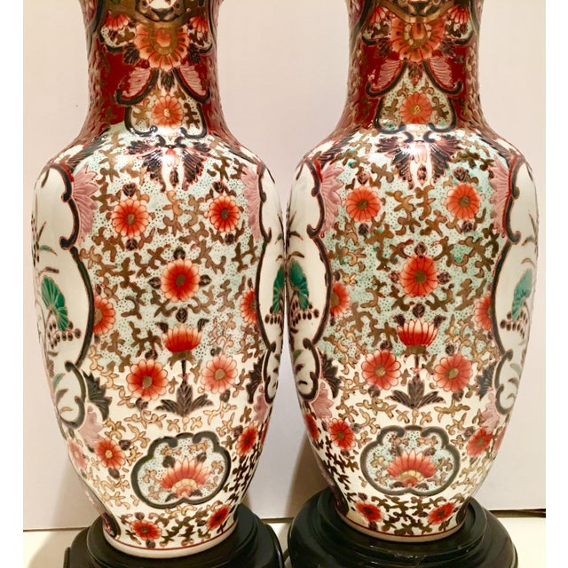Hand-Painted Porcelain Imari Vase Table Lamps - A Pair - Image 6 of 10