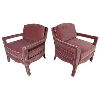 Paoletti Mid-Century Upholstered Armchairs - a Pair