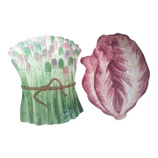 Italian Ceramic Vegetable Trivets - Pair