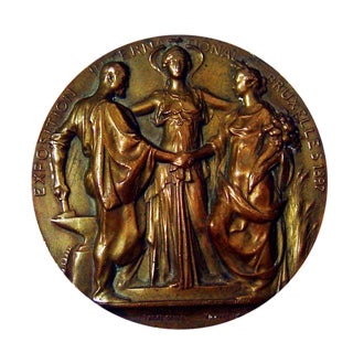Art Nouveau Bronze Medallion, 1897