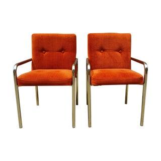 1980 Daystrom Orange Reception Chairs - a Pair