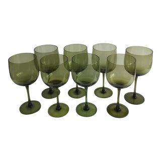 Vintage Green Wine Glasses - Set of 8