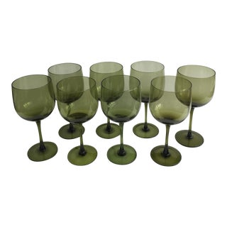 Vintage Green Wine Glasses - Set of 8