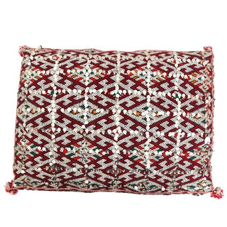 Moroccan Handmade Handira Red Cushion with Sequins